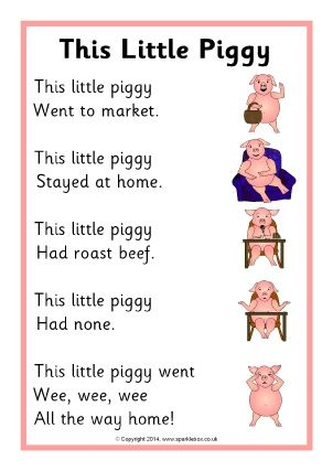 This is an example of a cheerful and adorable nursery rhyme. SparkleBoxTeacher Resources,2016, Retrieved from http://www.sparklebox.co.uk/literacy/nursery-rhymes/lyrics-sheets.html#.WMJKERhh3BL