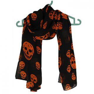 Grand foulard noir avec têtes de mort oranges