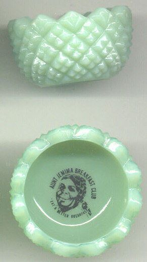 Very Nice 2 Charming Aunt Jemima Jadite Glass Salt Dips