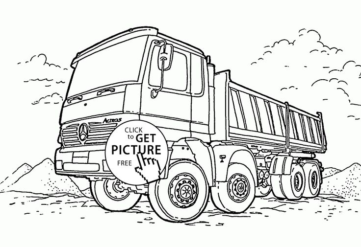 Dump Truck Mercedes Coloring Page For Kids Transportation