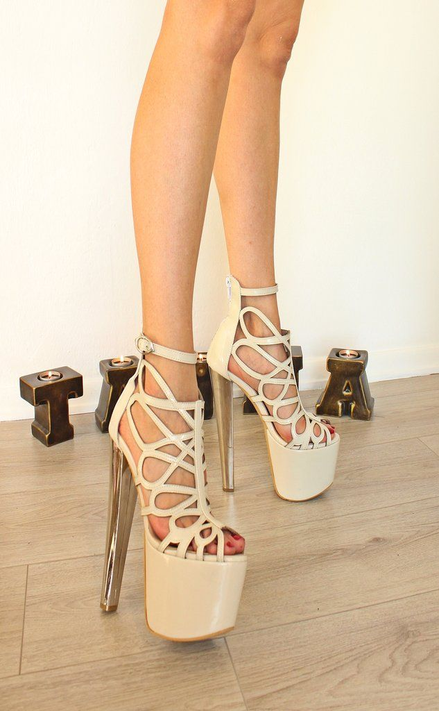 Cream Lazer Cage Stylish 19-20 cm High Heel Platform Women Shoes High  Quality ed30e4cd9835