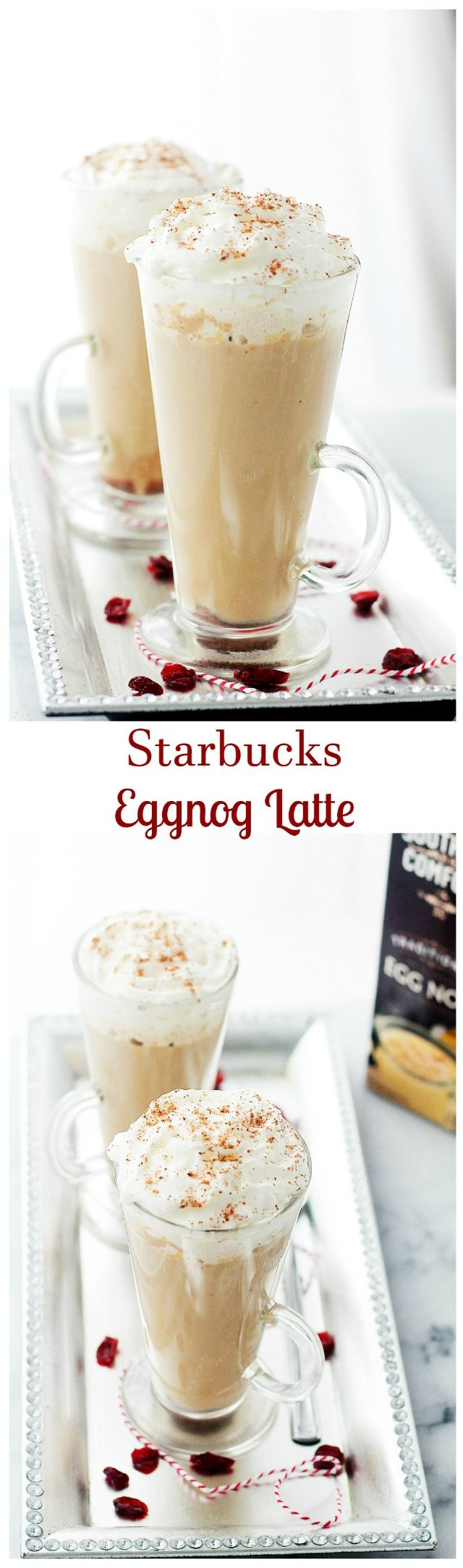Starbucks Eggnog Latte – This festive, Starbucks-inspired latte is made with strong brewed espresso, steamed eggnog and milk. Brown sugar and nutmeg, too. Save yourself 5$ and make it at home – it is delicious!!