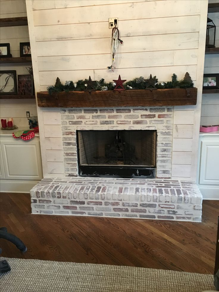 Fireplace redo - Anna Berry Design, LLC #shiplap, #barnwood, #whitewashed brick