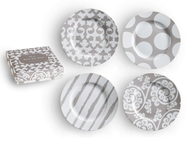 Rosanna Rue de Bac Appitiser Plates Set of 4 — Mix and match these globally inspired patterns for a sophisticated tabletop in subtle driftwood hues. This collection features a full-size dinner plate and our new infinity platter. Four assorted rimmed plates in a gift box; 20cm