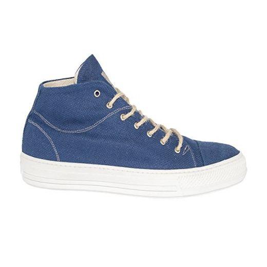 VaVe Hohe Sneaker Vegan Bio aus Hanf 100% mit Maisfasersohle und nickelfreiem Ösen ALL BLUE Größe 40 - Sneakers für frauen (*Partner-Link)
