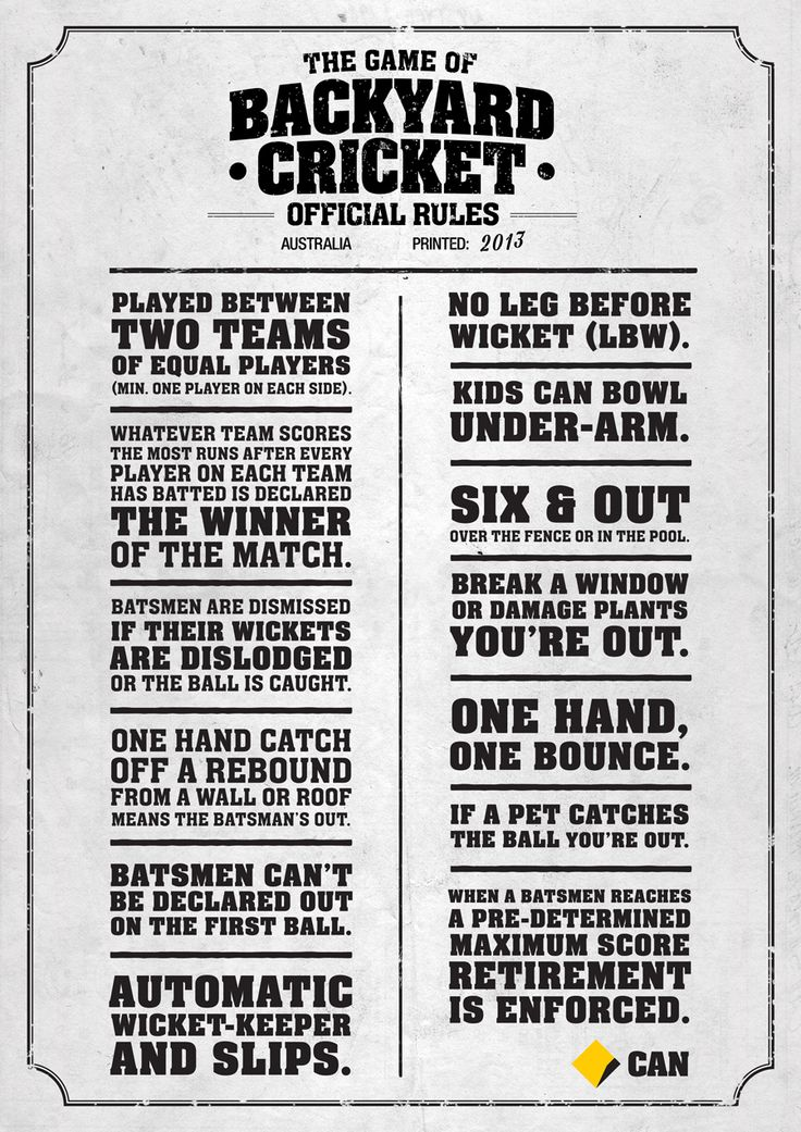 Mumdeep: Backyard Cricket Rules