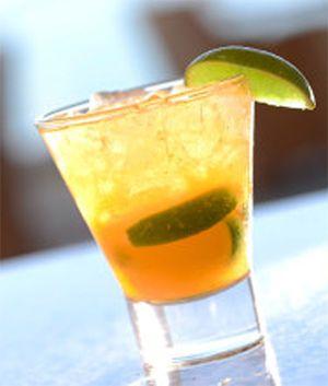 Mango Caipirinha Recipe:  3 oz. Leblon Cachaca (Spiced Rum) 3/4 oz. Agave nectar syrup 0.5 oz. Mango puree Lime wedge crushed ice