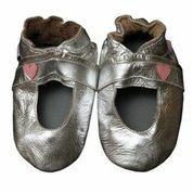 Soft-leather Mary Janes with a cute heart on the side. Good for indoor and outdoor play. Recommended to measure to determine exact size. Mary Jane (Silver) - Baby Shoe