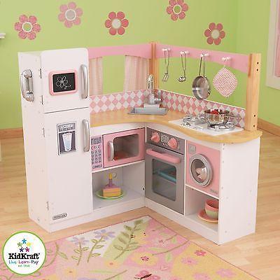 Grand Gourmet Corner Kitchen Refrigerator Pretend Play Set Kidkraft Cooking
