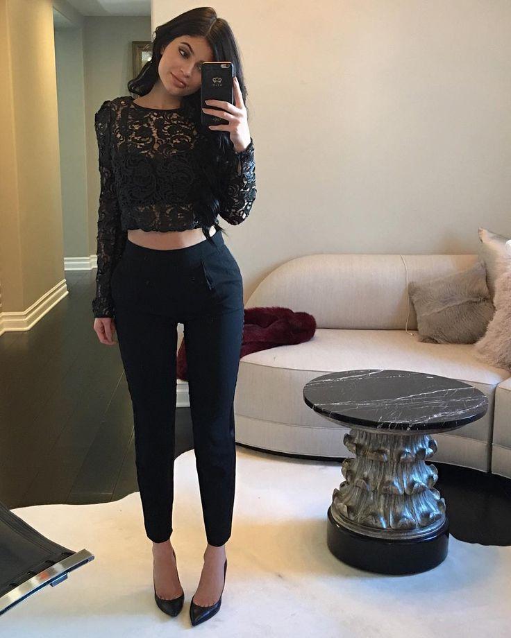 blusa renda e calça social