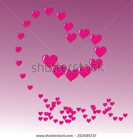 #heart shapes with #love #message on #purple background