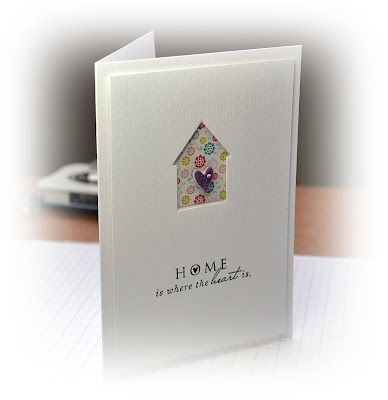 A Little Space of My Own card with punched house backed with patterned paper finished with a tiny heart