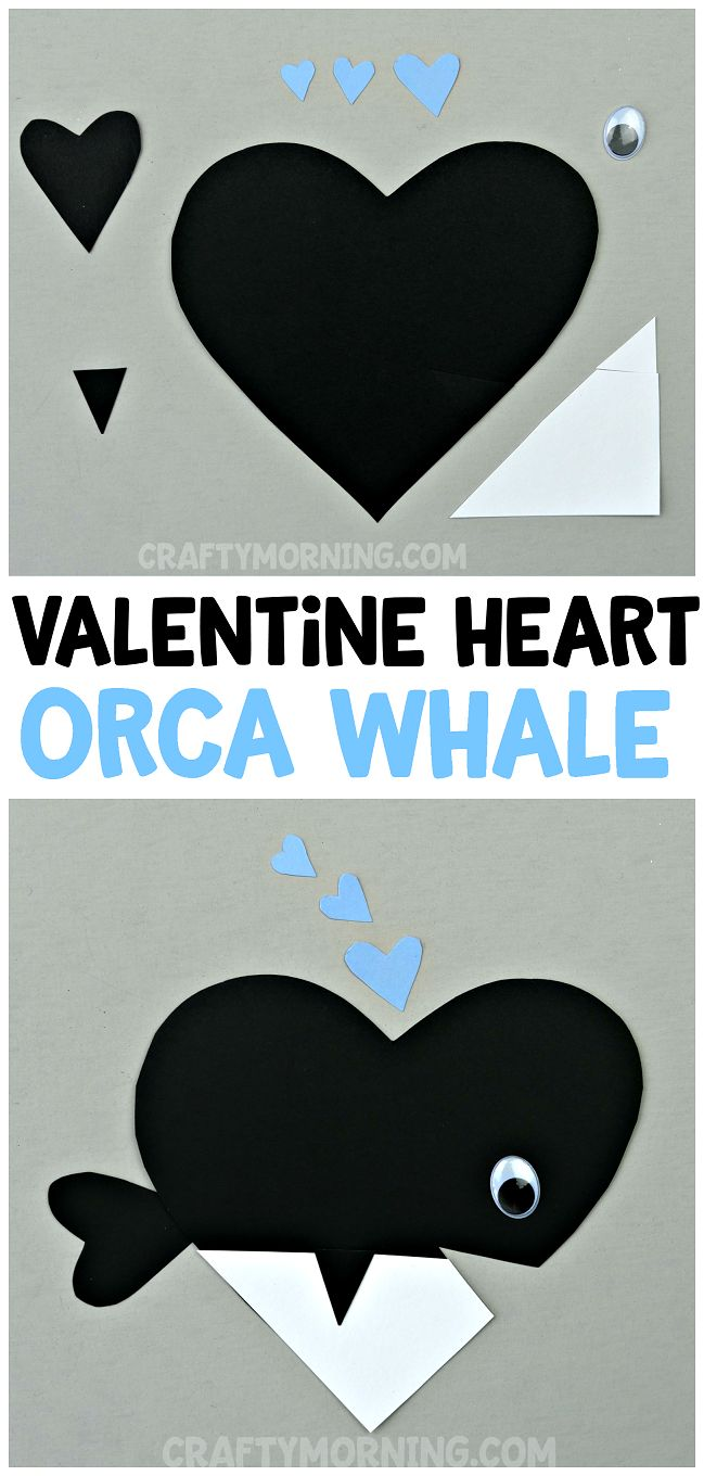 Valentine Heart Orca Whale Craft - adorable valentines day heart shape animal art project for the kids to make. Great for boys!