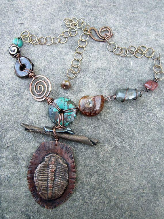 large bold rustic fossil necklce bronze trilobite by stacilouise necklace ideaslouise