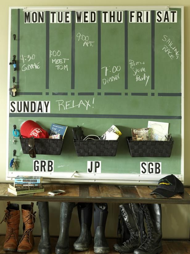 DIY Network has instructions on how to turn a chalkboard into a family calendar and message center.