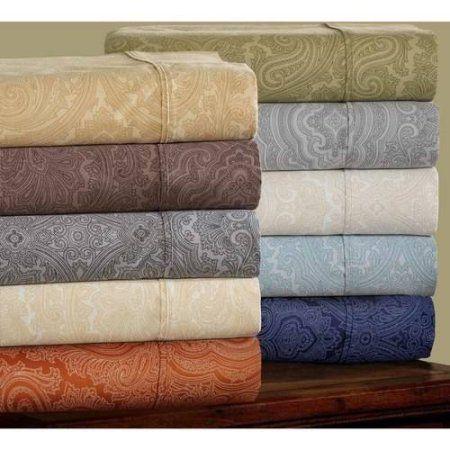 Superior 600 Thread Count Wrinkle-Resistant Luxury Cotton Italian Paisley Sheet Set, Orange