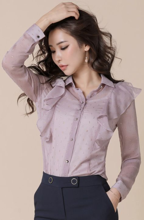 bdc33b80fc133e StyleOnme Sheer Dot Patterned Ruffle Collared Blouse  lavender  dot   feminine  blouse  koreanfashion  kstyle  kfashion  springtrend  dailylook
