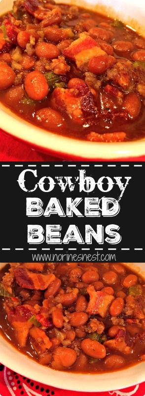 It just isn't summer BBQ until the Baked Beans are on the table! These Cowboy Baked Beans are loaded with bacon, sausage, veggies, and a thick hearty sauce. The perfect side dish to your BBQ.