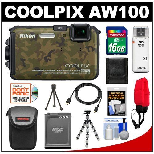 Nikon Coolpix AW100 Shock & Waterproof GPS Digital Camera (Camouflage) with 16GB Card + Battery + Case + Floating Strap + HDMI Cable + Flex Tripod + Kit by Nikon. $269.95. Kit includes:♦ 1) Nikon Coolpix AW100 Shock & Waterproof GPS Digital Camera (Camouflage)♦ 2) Transcend 16GB SecureDigital Class 4 (SDHC) Card♦ 3) Spare EN-EL12 Battery for Nikon♦ 4) PD-DCM Digital Camera Case (Black)♦ 5) PD-T12 Flexible Compact Camera Tripod♦ 6) PD Floating Foam Camera Strap (Red)