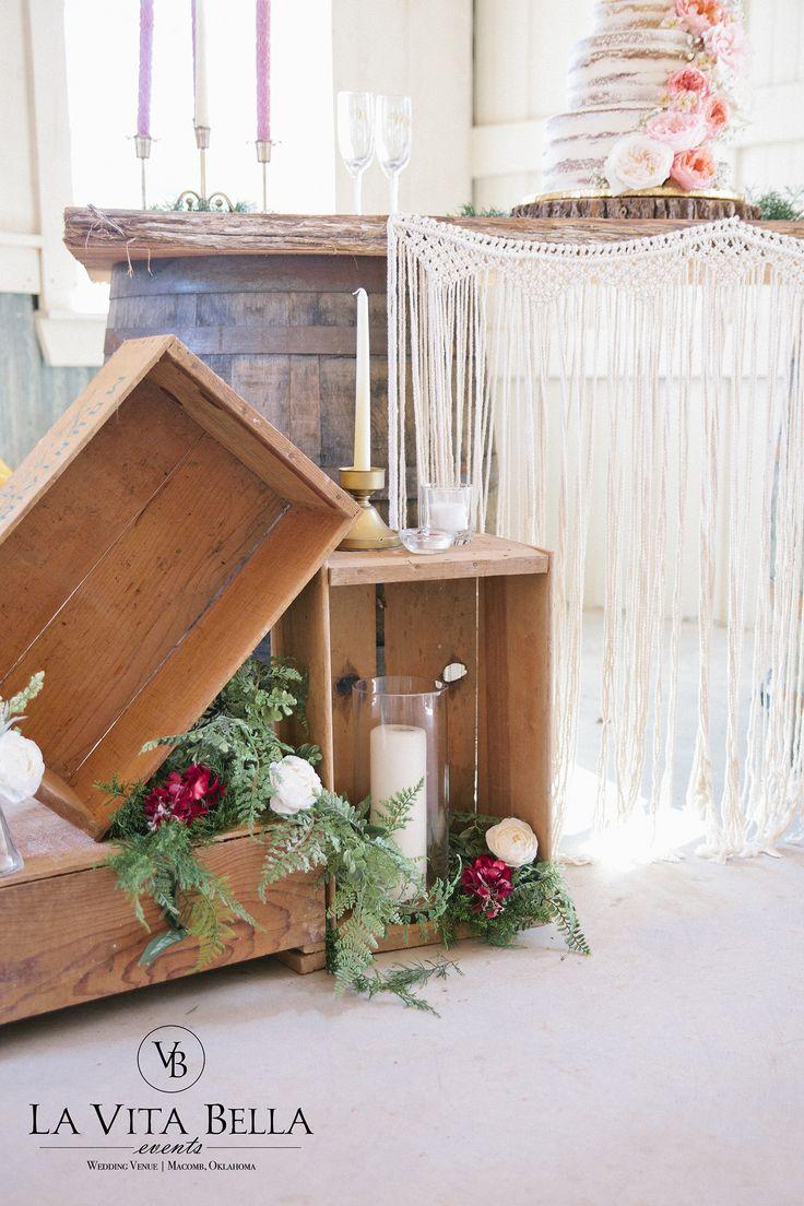 Wine Crate Decor | White Barn Wedding | La Vita Bella Events