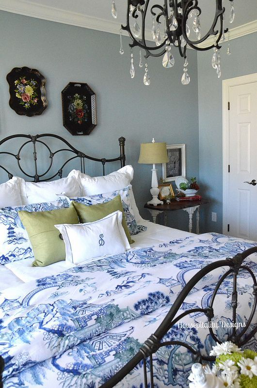 Love The Mix Of Fabrics Colors And Decor In This Guest Room Makeover Farmhouse BedroomsCottage BedroomsBlue