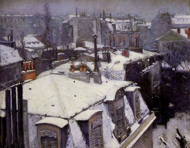 """Caillebotte, """" Vue de toits, effet de neige """""""
