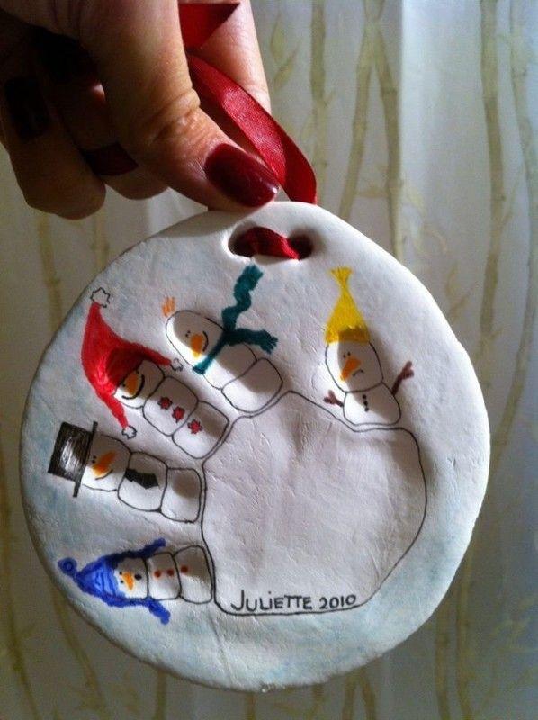 handprint snowman saltdough ornament (first christmas)