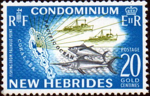New Hebrides 1963 SG 101 Map and Tuna Fish English Fine Mint SG 101 Scott 99 Other British Commonwealth Empire and Colonial stamps for sale Here
