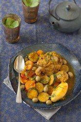 selle d'agneau, pomme de terre, courgette, tomate, carotte, oignon, olive verte, huile d'olive, cumin, épice, safran, poivre, Sel...