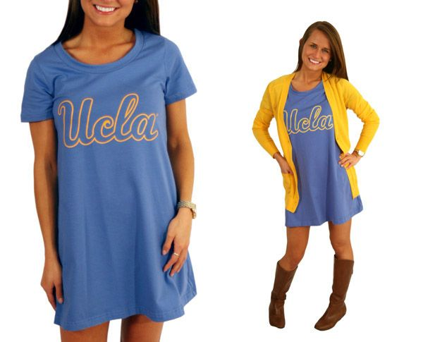 UCLA - T-Shirt Dress! Would be cute belted too! @UCLA @UCLA Athletics #UCLA #bruins #gameday