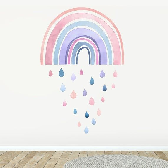 Fabric Wall Decal Large Rainbow Watercolour Kids Room Decor Colourful Wall Art Watercolor Kids Room Fabric Wall Decals Rainbow Wall Decal