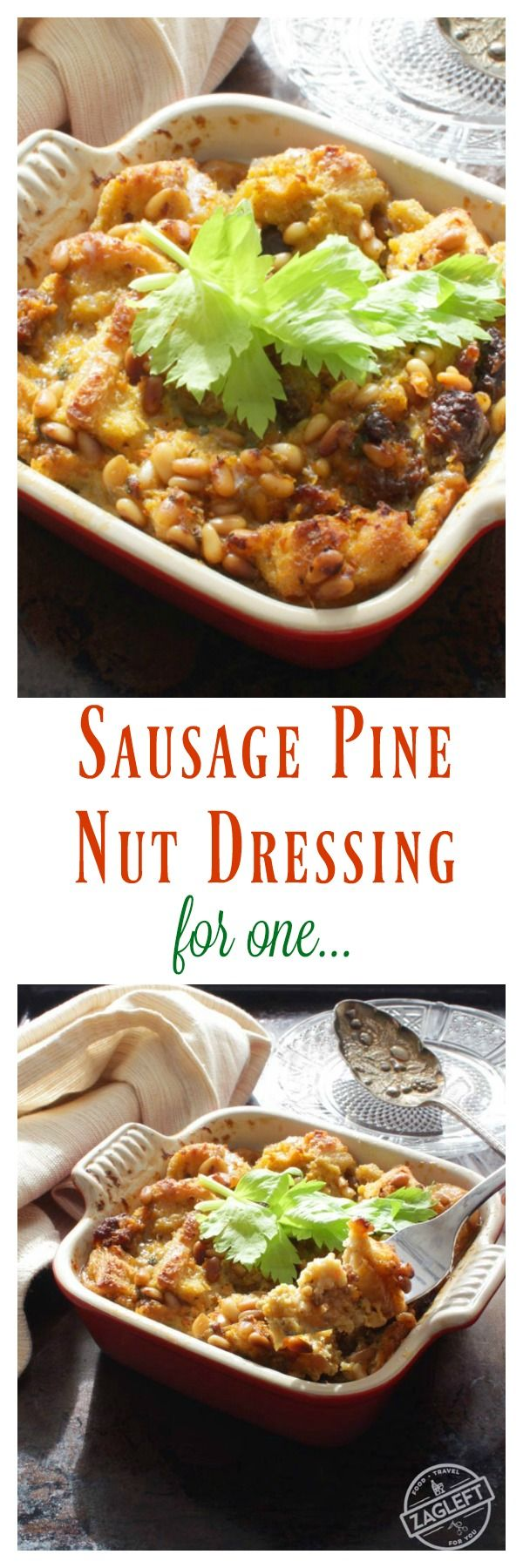 Sausage Pine Nut Dressing For One, filled with crunchy toasted pine nuts, spicy sausage and morsels of soft sourdough bread. It's a single serving version of my always-requested Thanksgiving dressing.