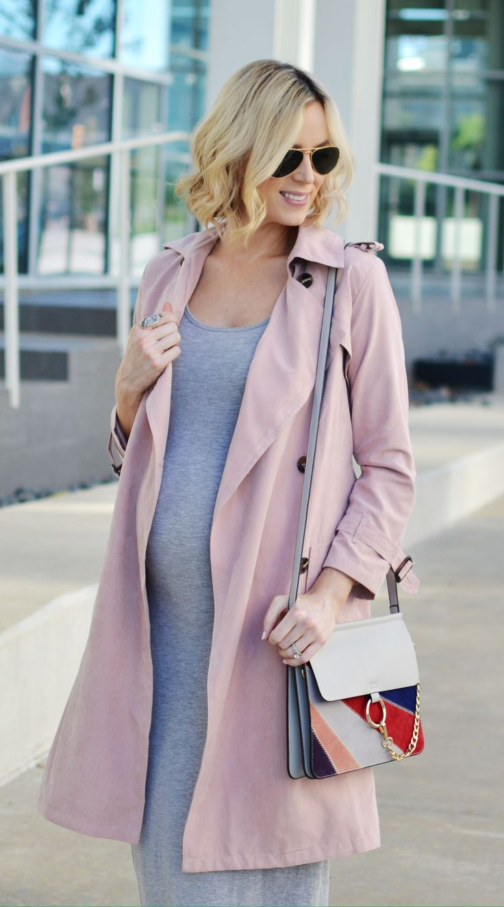 grey midi dress, blush trench coat, white block heels, chloe dupe bag. fall maternity style, easy layers