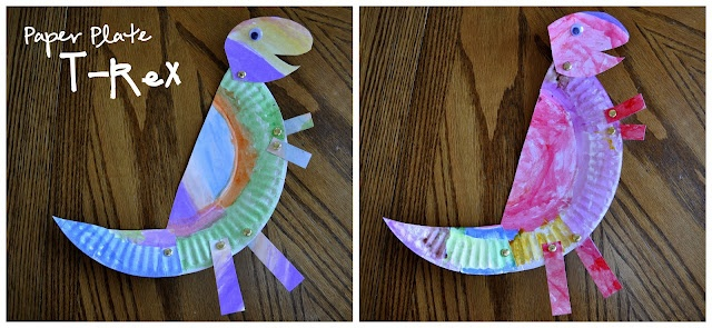 Paper Plate T-Rex.  Great craft for us to do after coming back from the Science Center one day.  they have big T-rex's there and my girls love them.