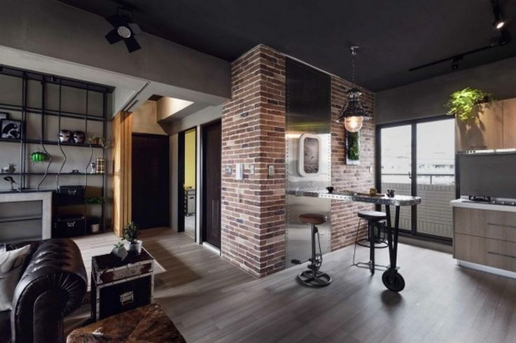 Decoration: Marvel Theme Apartment Decor Ideas With Red Brick Also Cement Walls Plus Unique Metal Breakwast Bar And Industrial Style Furnishing Ideas: Phenomenal Marvel Heroes Themed Home With Concrete Finish