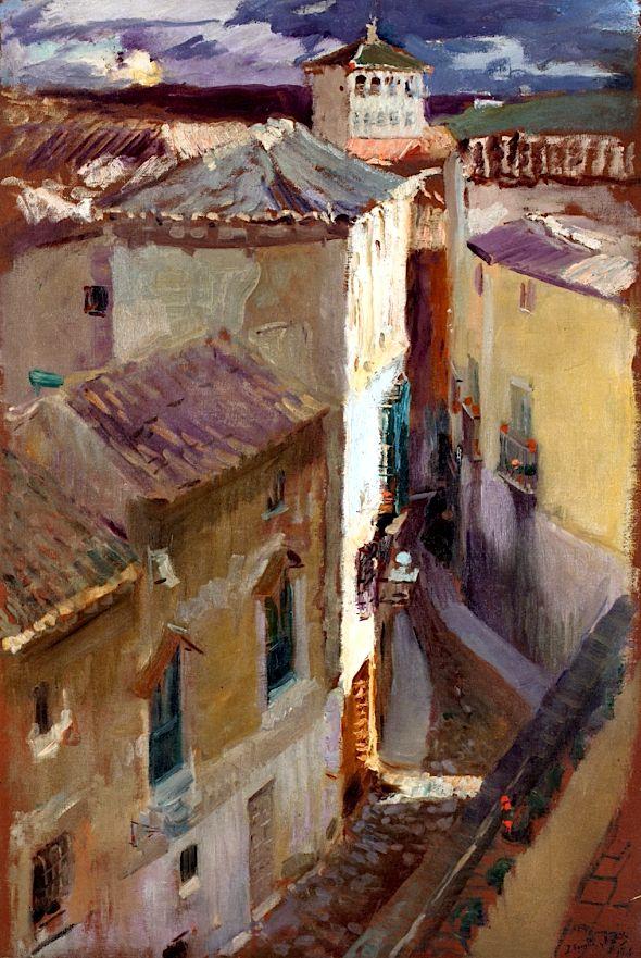 joaquín sorolla y bastida - a street in toledo, 1906, oil on canvas.