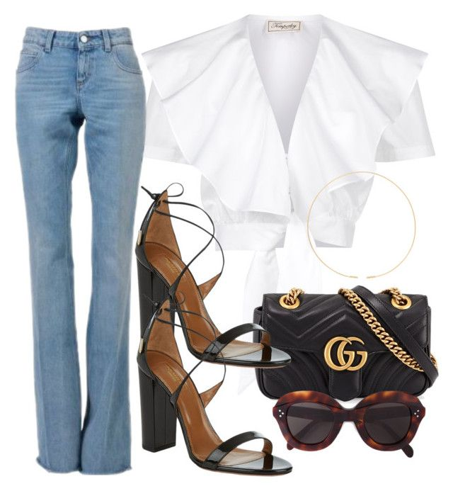 Sin título #3315 by camilae97 on Polyvore featuring polyvore, mode, style, Temperley London, Gucci, Aquazzura, Jennie Kwon, CÉLINE, fashion and clothing