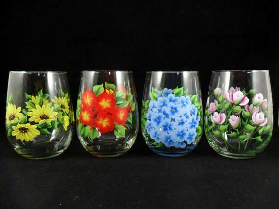 Stemless Wine Glasses Flowers Hand Painted by PaintingByElaine