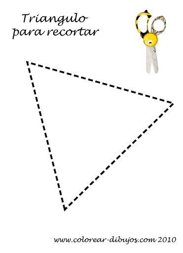 Aprender a recortar; lámina infantil con forma sencilla de triangulo para imprimir y recortar