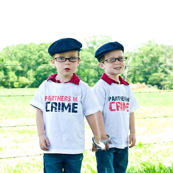 Partners In Crime Funny Twin Onesies Or Toddler Shirts