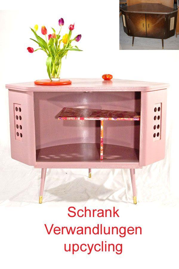 Upcycling Einer Eckkommode Kommode Neu Gestalten Rosa Schrank