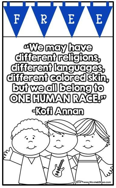 Martin Luther King Activities FREE Multicultural Color Posters Black Line Coloring Pages