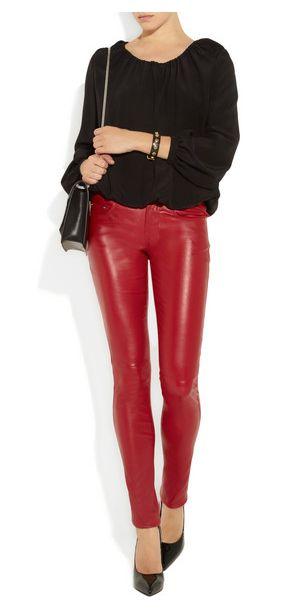 skinny leather legging. Legging cuir rouge