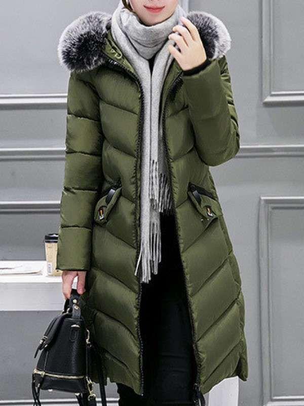 売れ筋 ファッション全3色ポケット付きファーフード付きスリムアウターダウンコート - レディースファッション激安通販|20代·30代·40代ファッション
