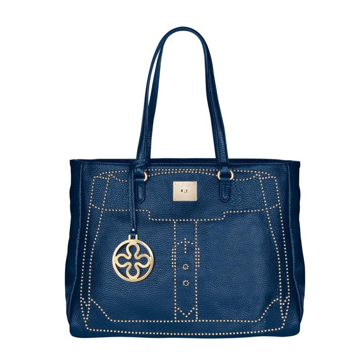 #V73 Madrid Blue Leather Bag whit zip closure, Studs, Charms shown in photo included, Metal feet at the base 49 x 28 x 18 Shop now: http://www.v73.it/en/pelli-pregiate/madrid/1087-madrid-black