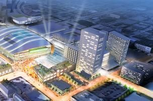 Milwaukee ARENA DEVELOPMENT AERIAL VIEW detail 2 north side