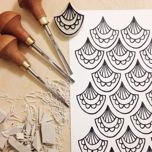 From Creatiate's 100 Days of Hand Carved Stamps (@Creatiate on Instagram) by Sarah Kathryn #BlockPrinting #Linocut #HandCarvedStamp
