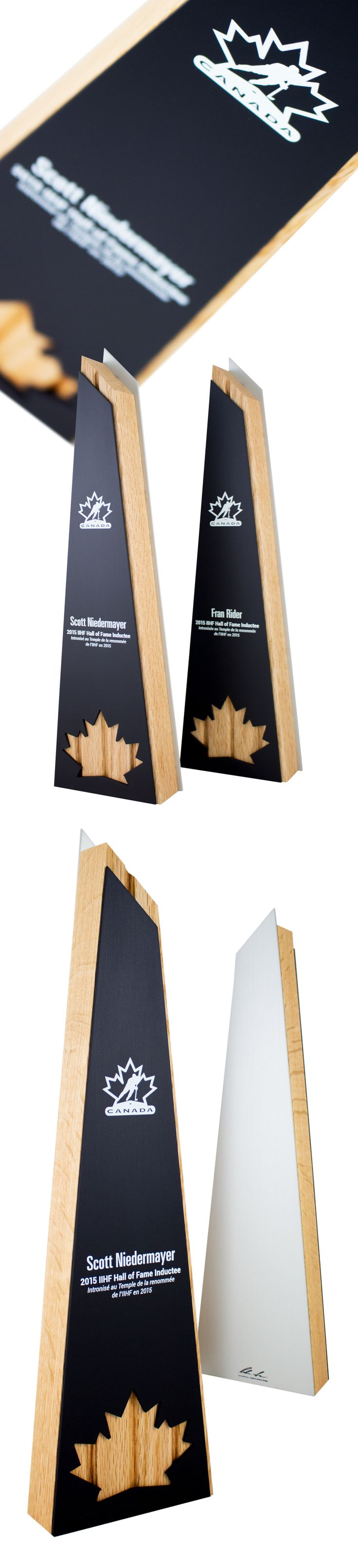 "This project was a commission from Hockey Canada. We were requested to design a hall of fame award for their new inductees. The idea behind the design was to use the shape of 4 hockey stick handles and create the award around that size. The four sticks can be seen through the maple leaf relief cut, designed as a ""peekaboo"" detail. The wood was then affixed in-between two water jet cut aluminum panels. A modern design that is simple and elegant."