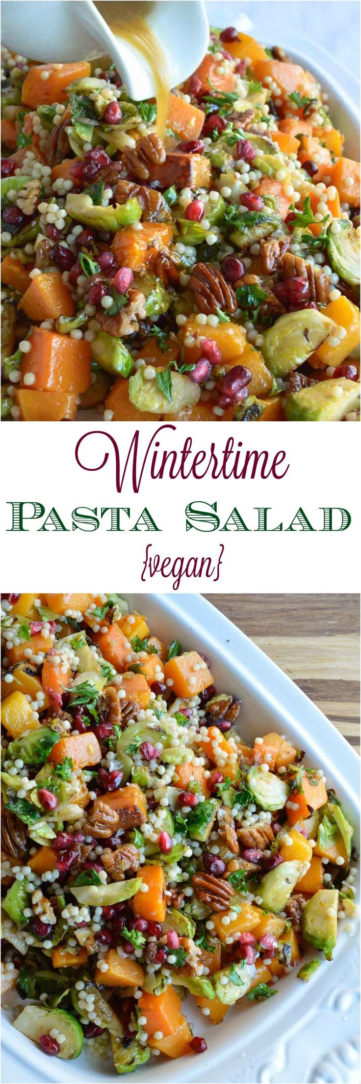 Butternut Squash Pasta Salad is a healthy holiday side dish! This vegan recipe is full of fresh winter produce: butternut squash, brussels sprouts, pomegranate seeds, pecans and pasta. All topped with fresh orange and maple dijon vinaigrette! #client