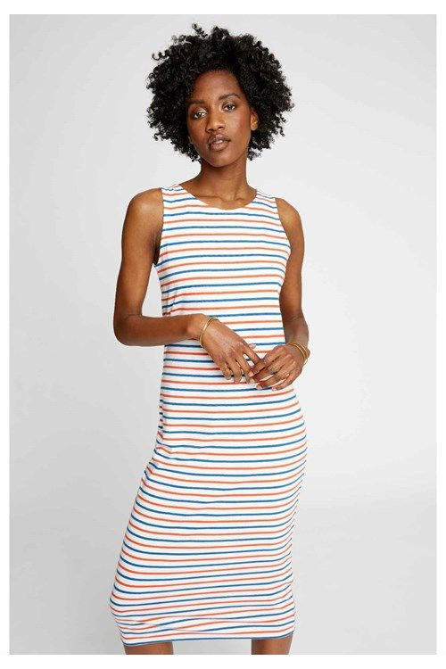 This short-sleeved Breton dress is made from supersoft organic cotton and is THE wardrobe must-have. This dress is a bodycon fit.